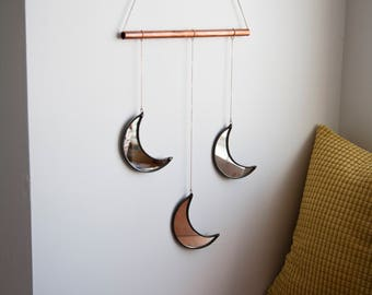 Three Small Crescent Moon Mirror Wall Hanging