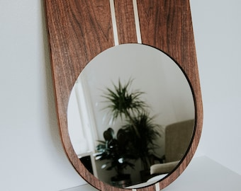 Sroka Mirror - PREMIUM Szklo Mirror - Walnut Wood Framed Mirror with Brass