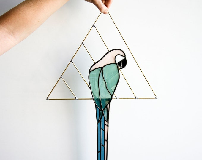 Featured listing image: Stained Glass Parrot with Brass Detail - Pastel, Neutral or Custom