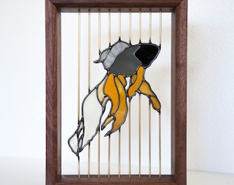 Stained Glass Fish - Floating in Walnut Wood Frame with Brass