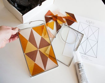 MOSAIC KIT Diamond Design - Stained Glass on Glass Mosaic Kit - Video Tutorial Included - Easy DIY Mosaic - Glass Supplies