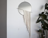 The Skos - Circle Mirror with Fringe and Chain & Brass Detail - Wall Mirror Hanging, Stained Glass Mirror, Modern Mirror Wall Decor