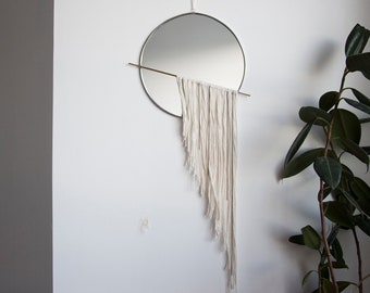 Circle Mirror with Fringe and Chain & Brass Detail