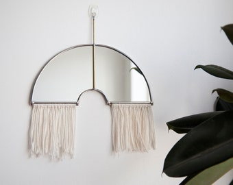Rainbow Mirror with Fringe & Brass