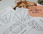 Digital Stained Glass Patterns - WZOREK PATTERN - Art Deco Set - includes 4 designs, lead & foil options
