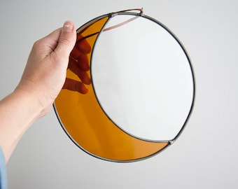 Large Glass Moon Clear & Amber