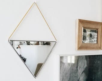 Triangle Mirror With Brass Hanging