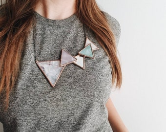 Stained Glass Falling Triangle Necklace - pink tone