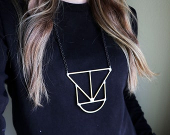Brass Rod Geometric Necklace