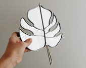 Monstera Tropical Leaf Mirror with Brass Detail - Stained Glass Monstera Wall Hanging