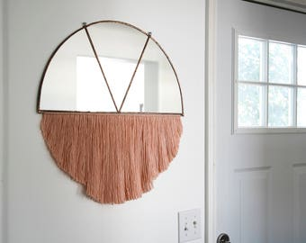 Large Half Circle Mirror with Fiber Fringe and Brass Rod