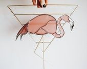 Flamingo - Stained Glass Bird with Brass Detail, Bird Wall Hanging Decor