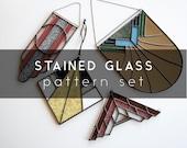 Digital Stained Glass Pattern - WZOREK PATTERN - Art Deco Set - includes 4 designs, lead & foil options