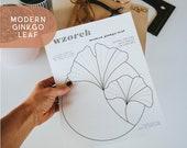 Digital Stained Glass Patterns - WZOREK PATTERN - Modern Ginkgo Leaf