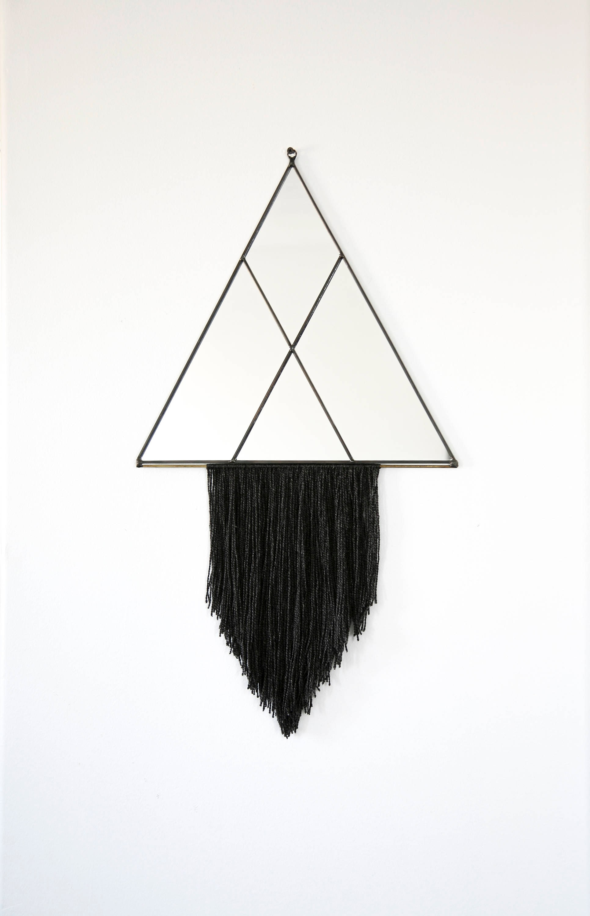 Large Shapely Triangle Mirror with Fringe (see photos for