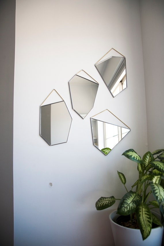 Geo Rock Shape Mirrors 4 Shapes Wall Mirror Mirror Hanging Stained Glass Mirror Modern Mirror Mirror Wall Decor