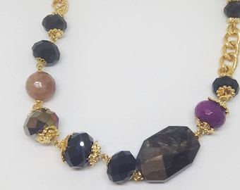 Semiprecious Stones Necklace/ Gold Plated Chain/ Crystal Necklace/ Unique Necklace/Gift idea