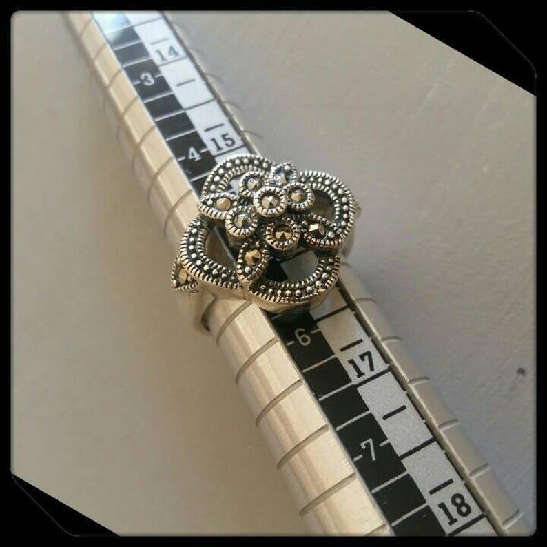Silver 925 Vintage Marcasite RingSize 56