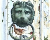 "Wren on Door Knocker // A4 8"" x 11"" Archival Giclee Print // Unusual Watercolour Bird Art // Sean Milne Prints"