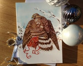 Goshawk & Gift Christmas Card // A5 Festive Greetings Card // Fine Art Watercolour Painting // Sean Milne Prints