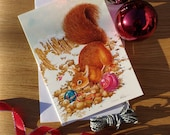 Red Squirrel & Baubles Christmas Card // A5 Festive Greetings Card // Fine Art Watercolour Painting // Sean Milne Prints