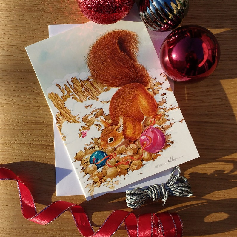Red Squirrel & Baubles Christmas Card // A5 Festive Greetings image 0