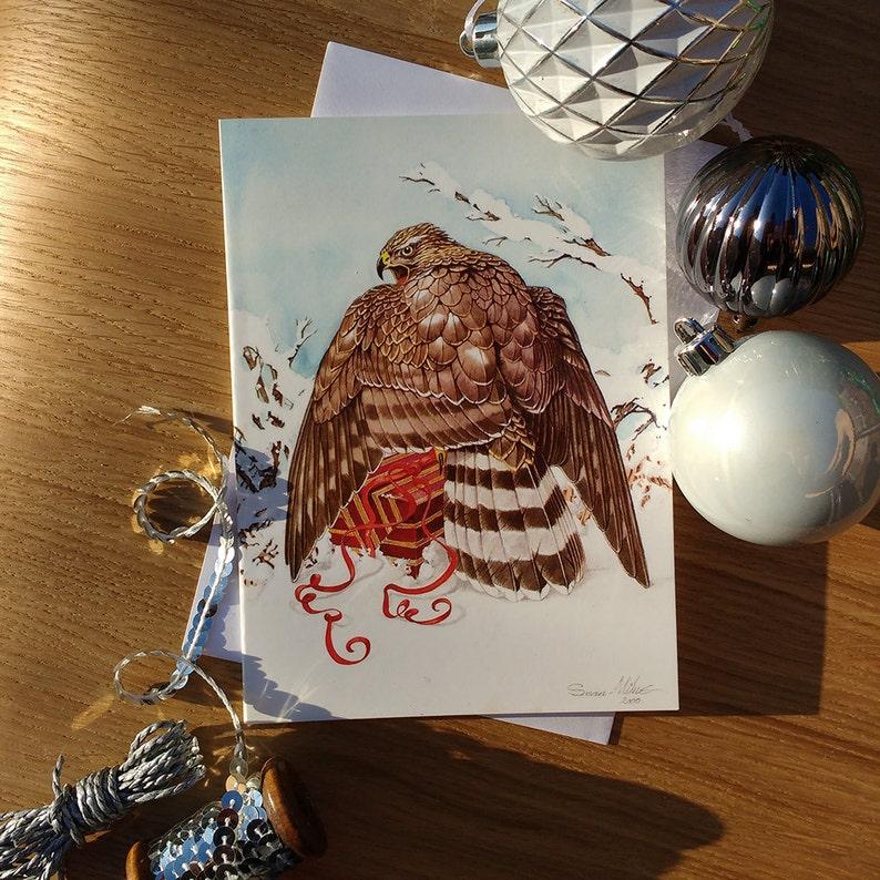 Goshawk & Gift Christmas Card // A5 Festive Greetings Card // image 0