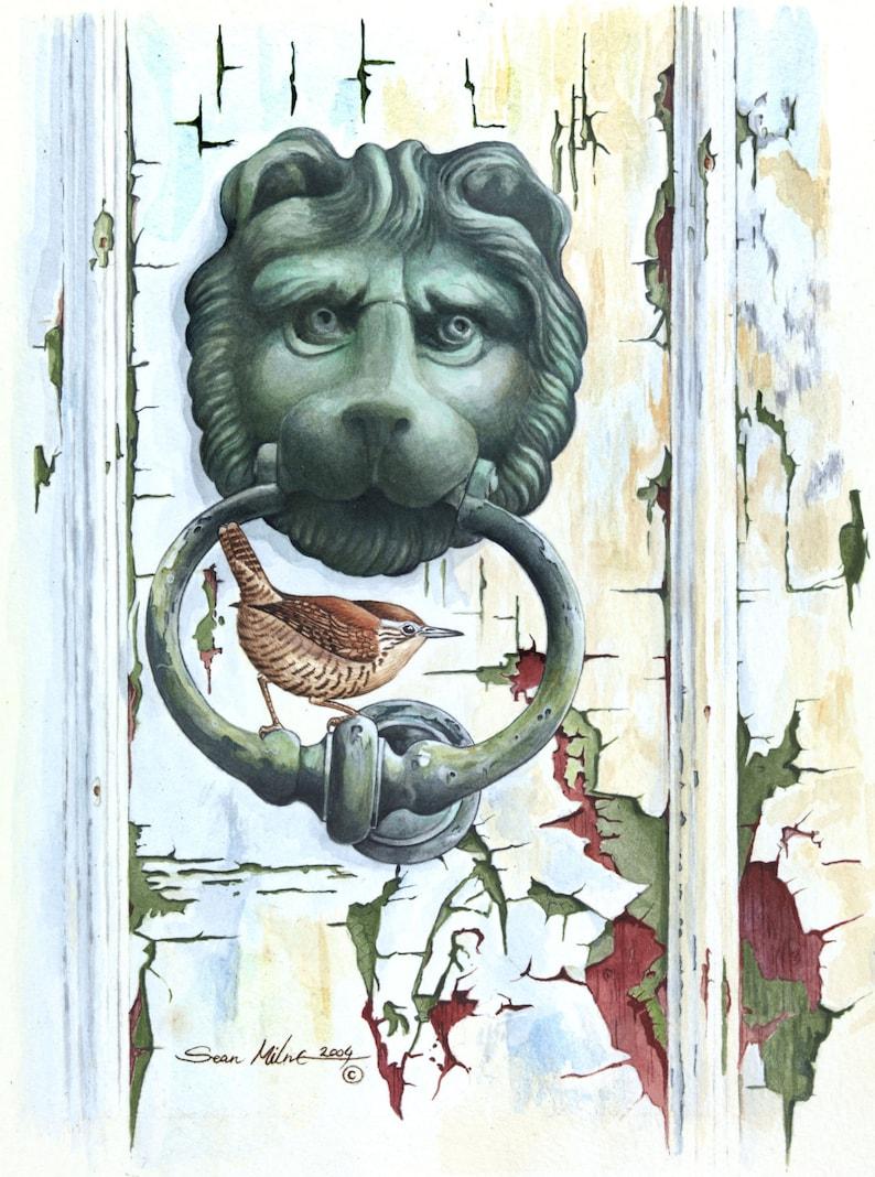 Wren on Door Knocker // A4 8 x 11 Archival Giclee image 1