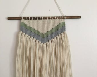 Green, Grey, and Off White Hand Woven Wall Hanging - boho style home decor - gender neutral nursery