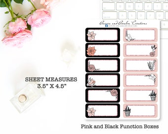 Black and pink function boxes