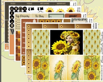 Sunflower Elemental Weekly Kit for Erin Condren, Happy Planner and BIG HP