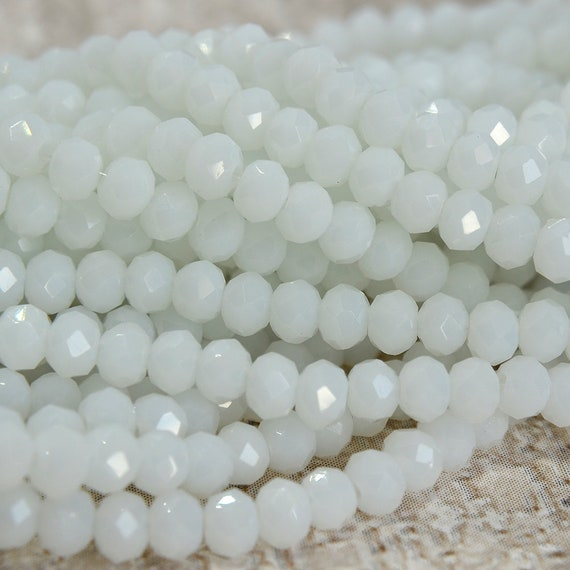 Czech Crystal Opaque Glass Faceted Rondelle Beads 6 x 8mm Peach 70 Pcs Crafts