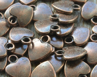 20 Copper Heart Charms, Copper Charms, Heart Charms, Jewellery Supplies, Bead Supply, Jewellery Making Supplies, 10mm x 12mm, Pack of 20