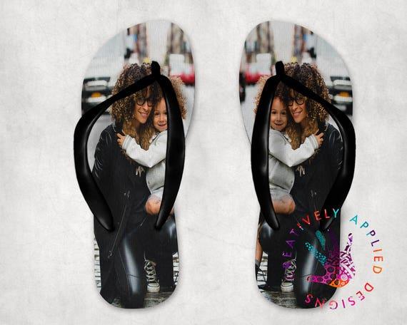 f867a01cb3a16e Photo Flip Flops Personalized Slides Thong Sandals Photo