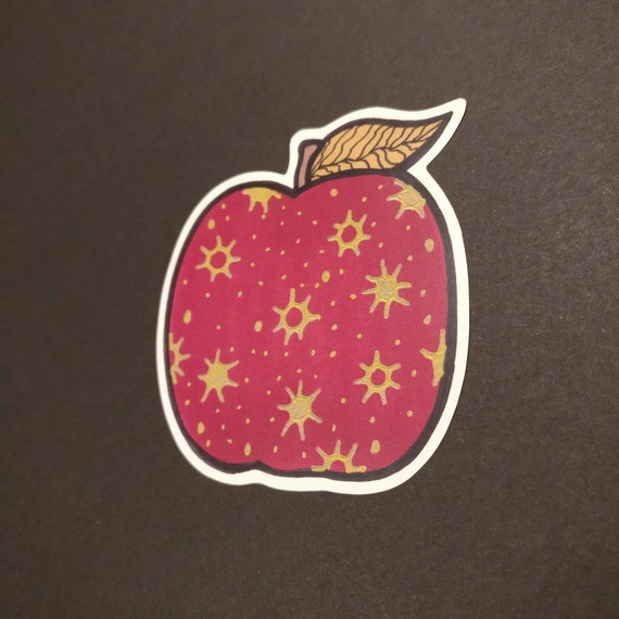Red Remarkable Apple Sticker Etsy