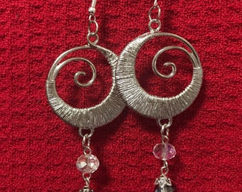Swarvoski crystals and silver statement earrings