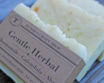 Gentle Herbal soap,Natural Chamomile-Calendula -Aloe Vera Unscented soap for Sensitive skin, Vegan soap, handmade soap, glycerin soap