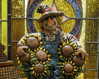 Scarecrow With Sunflowers Figurine Halloween Decoration, Hand Painted Ceramic Halloween Fall Decor, Halloween Figurines, Fall Decoration