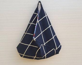 Beach Bag, Hobo Slouch Bag, Bento Origami Bag, Black & Gold Bag, Japanese Style Bag, Unique Summer Bag, Large Market Bag