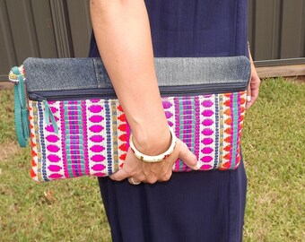 Large Zipper Clutch. Up cycled Denim Jeans and Mexican Poncho Fabric