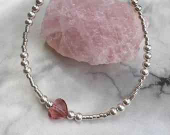 Pink Swarovski Heart Bracelet, beaded bracelet, pink heart, swarovski