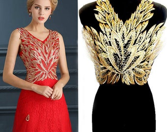 312d6d66049 1 pcs Net yarn sequins gold phoenix feather butterfly flower lace patch  embroidery wedding dress stage decoration fabric SM254