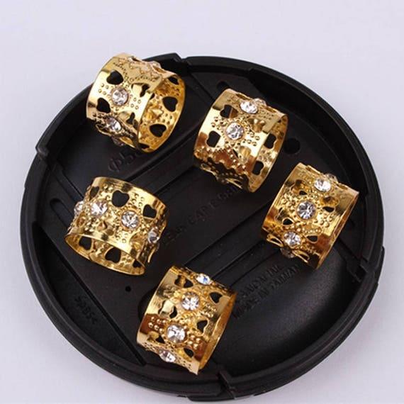 50pcs Gold Rhinestone Hair Dread Braids Dreadlock Beads Etsy