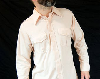 Large, 70s, Vintage, Van Heusen, Polyester, Pale Pink, Button Down Shirt