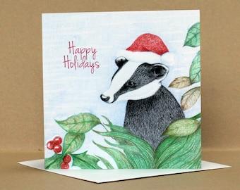 Christmas Badger Card