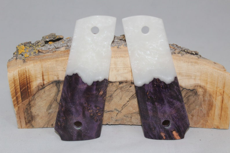4 1911 Full Size Pistol Grips Dyed Stabilized Maple Pearl Composite