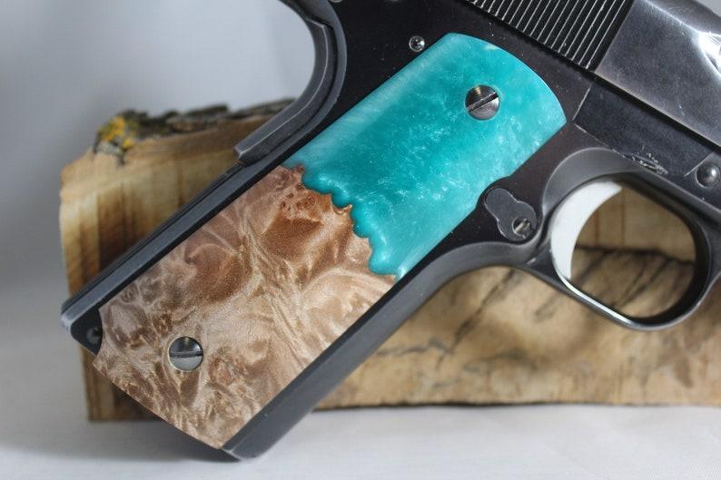 64B 1911 Full Size Pistol Grips Burl Turquoise Composite