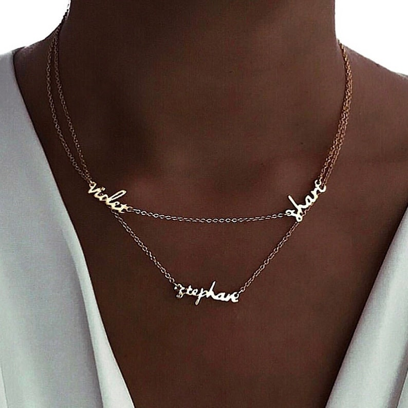 0a303b2dd9d4f Double Layer Multi Name Plate Necklace, custom necklace, personalized  necklace, layered necklace, personalised necklace, name necklace