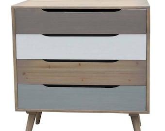 Dresser 80X40X87 cm Scandi taupe and gray White