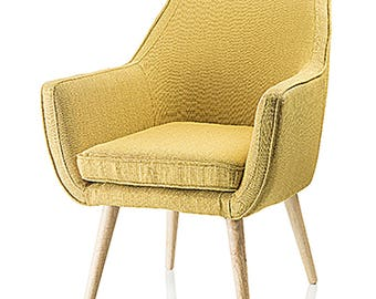 Florence armchair in fabric yellow ochre